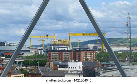 BELFAST, NORTHERN IRELAND – JUNE 02, 2019: A very clear view over the famous Samson and Goliath twin gantry cranes in the Docks of Belfast