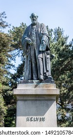 Belfast, Northern Ireland - June 26 2019; Statue of Lord Kelvin in the Botanic Gardens