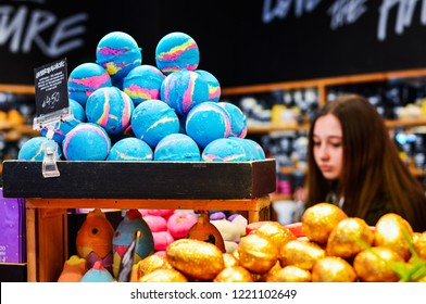 Belfast, Northern Ireland, March 2018. Colorful Handmade Bath Products from Lush Cosmetics Store, Belfast.