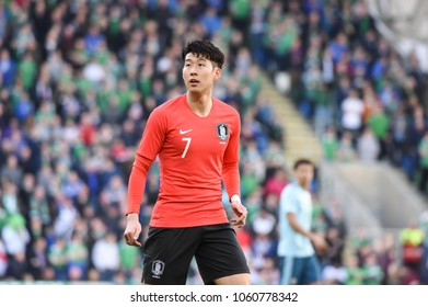 Belfast, Northern Ireland - March 24 2018: Korea Republic's and Tottenham Hotspur's  Heungmin Son pictured during friendly match against Northern Ireland at National Football Stadium.