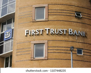 BELFAST, NORTHERN IRELAND- MAY, 2018: First Trust Bank in Northern Ireland, part of the AIB group and one of the 'big four' banks of Ireland