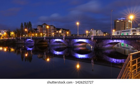 BELFAST, NORTHERN IRELAND – MAY 31, 2019: Beautiful night view over the millennium island bridge and the City of Belfast