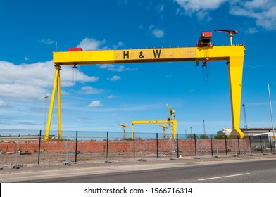 BELFAST, NORTHERN IRELAND, - MAY 5, 2012:    The iconic cranes of the former shipbuilders, Harland and Wolff, Belfast.