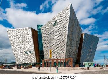 BELFAST, NORTHERN IRELAND, - MAY 5, 2012:   Titanic Belfast a visitor attraction, opened in 2012, on the site of the former Harland & Wolff shipyard in Belfast, Northern Ireland.