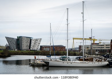 Belfast, Northern Ireland -November 18, 2017: Titanic Belfast is a visitor center in Belfast, that tells the story of the ill-fated Titanic, which hit an iceberg and sank during her maiden voyage.