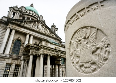 BELFAST. NORTHERN IRELAND - October 07 ,2018 : Coat of arms of America on the background of City Hall