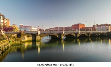 Belfast, Northern Ireland- Queens Bridge and the Belfast skyline