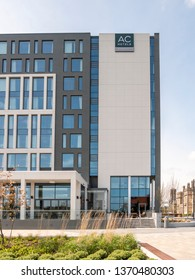 Belfast, Northern Ireland, UK - April 13 2019: AC Marriott Hotel, Clarendon Dock