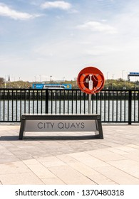 Belfast, Northern Ireland, UK - April 13 2019: City Quays 1 sign near Clarendon Dock