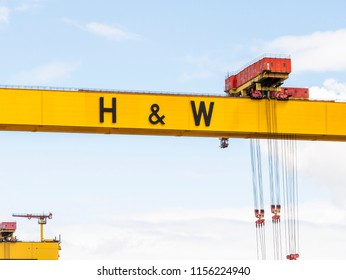 Belfast, Northern Ireland, UK - August, 8, 2018: One of the giant Harland and Wolff Shipyard cranes