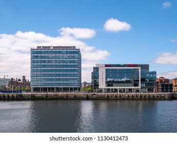 Belfast, Northern Ireland, UK - July 9, 2018: City Quays 1 and 2, Clarendon Dock offering premium office space. Tenants include Baker McKenzie and Ulster Television
