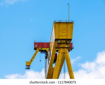 Belfast, Northern Ireland, UK - June 21, 2018: One of the giant Harland and Wolff Shipyard cranes known as Samson and Goliath