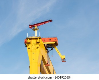 Belfast, Northern Ireland, UK - May 14, 2019: One of the giant Cranes at Harland and Wolff Shipyard against a blue sky