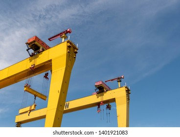 Belfast, Northern Ireland, UK - May 14, 2019: Harland and Wolff Shipyard cranes, samson and Goliath against a blue sky