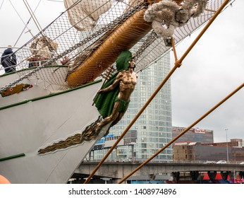 Belfast, Northern Ireland, UK - May 25, 2019: Belfast Titanic Maritime Festival in Titanic Quarter. Mexican Naval Service ship Cuauhtemoc moored at Queen's Quay. Image shows figurehead