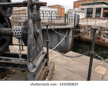 Belfast, Northern Ireland, UK - May 25, 2019: Old winching mechanism at Clarendon Docks for opening sea gates