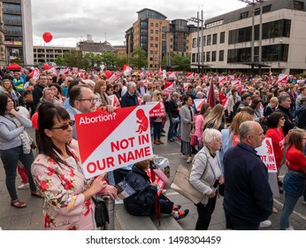 Belfast, Northern Ireland, UK - September 7, 2019: Thousands attended a March For Their Lives rally opposing abortion in Custom House Square