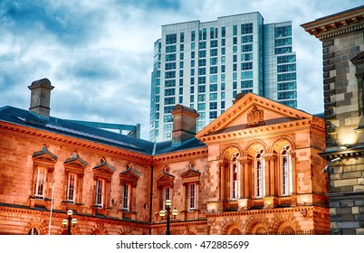 Belfast Skyline in the Evening, Belfast City, Northern Ireland, United Kingdom (UK).