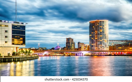 Belfast Skyline at Night over the River Lagan, Belfast City, Northern Ireland, United Kingdom (UK).