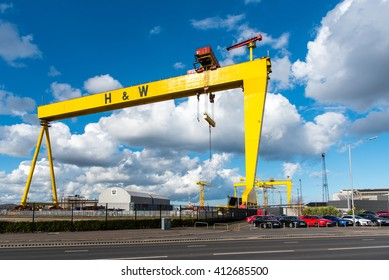 BELFAST, UK - 31 MAR 2016: Samson and Goliath, twin shipbuilding gantry cranes at Harland and Wolff,, Belfast.  Goliath is in the foreground.
