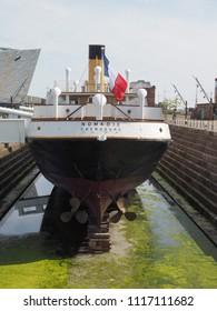 BELFAST, UK - CIRCA JUNE 2018: SS Nomadic tender ship of the White Star Line in Titanic Quarter