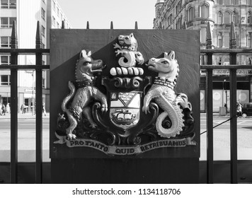 BELFAST, UK - CIRCA JUNE 2018: City of Belfast Latin motto Pro tanto quid retribuamus from Psalm 116 in the Latin Vulgate Bible meaning For so much what we shall repay in black and white
