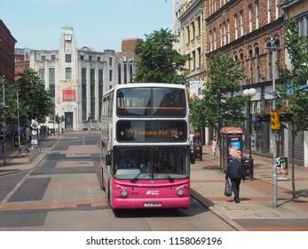 BELFAST, UK - CIRCA JUNE 2018: Double decker Metro bus public transport