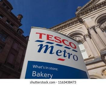 BELFAST, UK - CIRCA JUNE 2018: Tesco supermarket sign