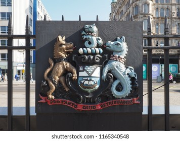 BELFAST, UK - CIRCA JUNE 2018: City of Belfast Latin motto Pro tanto quid retribuamus from Psalm 116 in the Latin Vulgate Bible meaning For so much what we shall repay
