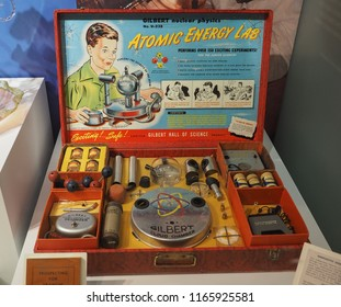 BELFAST, UK - CIRCA JUNE 2018: The Gilbert 238 Atomic Energy Lab from 1951 is the most dangerous toy, as it contained Uranium ore samples and radioactive isotopes. Seen at the Ulster Museum.