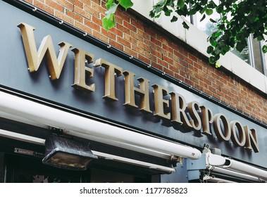 BELFAST, UK - CIRCA JUNE 2018: Wetherspoon public house sign