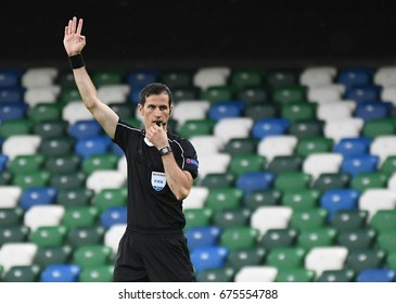 BELFAST, UK - JUNE 28, 2017: Croatian FIFA referee Duje Strukan pictured during the UEFA Champions League 1st qualifying round game between Linfield FC and La Fiorita on Windsor Park.