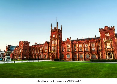 Belfast, UK. The Lanyon Building, Queen's University Belfast, Northern Ireland, UK in the evening with cloudless blue sky