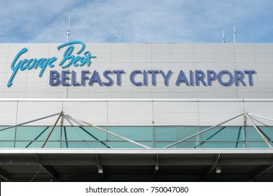 Belfast, United Kingdom - 25 October 2017: Sign of George Best Belfast City Airport, a single-runway airport in Belfast, County Antrim, Northern Ireland