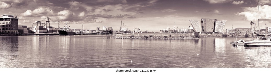 BELFAST, UNITED KINGDOM - AUGUST 24, 2016: Panoramic view of the Belfast's harbor with the Titanic Museum Palace - toned image