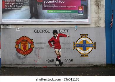Belfast,Northern Ireland-5th November: loyalist mural dedicated to  Manchester United player George Best near Sandy Row.Belfast,Northern Ireland,UK on 5th November 2014
