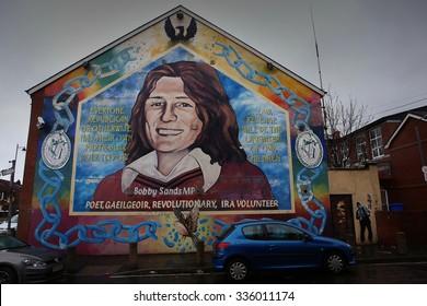 Belfast,Northern Ireland-5th November: mural dedicated to Bobby Sands on Sinn Feinn office.Belfast,Northern Ireland,UK on 5th November 2014