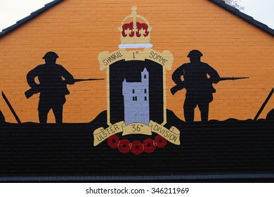 Belfast,Northern Ireland-5th November:  political loyalist mural in loyalist area of Shankill Road.Belfast,Northern Ireland,UK on 5th November 2014