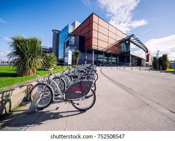 Belfast,Northern Ireland,UK :21 September,2017: bicycles in front of Belfast Odyssey arena