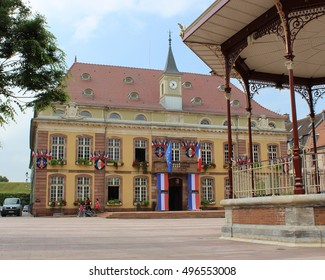 BELFORT, FRANCE, JULY 27 2016: The Town Hall and Place de Armes in Belfort in the Franche-Comte area of France. Belfort is a large town and popular tourist destination.