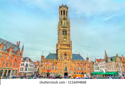 The Belfry of Bruges, a medieval bell tower in West Flanders Province of Belgium