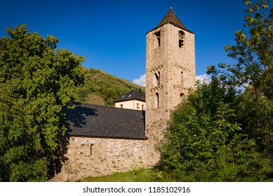 Belfry and church of Sant Joan de Boi in Catalonia, Spain. Catalan Romanesque Churches of the Vall de Boi are declared a UNESCO World Heritage Site Ref 988.