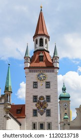 Belfry clock tower of Munich Old Town Hall municipal building on the central city square Marienplatz