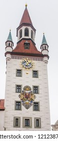 Belfry clock tower of Munich Old Town Hall municipal building on the central city square Marienplatz.  Germany