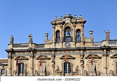Belfry with three bells and a clock in Plaza Mayor, Salamanca