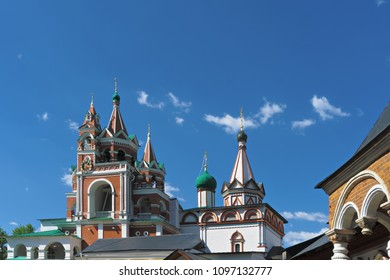 Belfry and Trinity gate church towers of Savvino-Storozhevski monastery, located in Zvenigorod, an old town in Moscow region, Russia