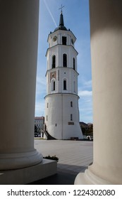 Belfry of Vilnius Cathedral, one of the main landmarks of Vilnius. View through colums of Cathedral.