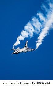 Belgian Air Force F-16 Viper fighter jet performing at Kleine-Brogel. Belgium - September 14, 2019
