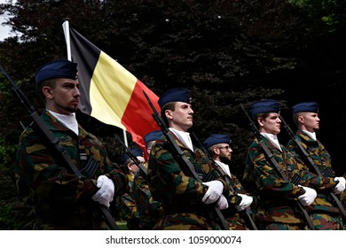 Belgian Army officers stand during the official visit of Chinese Prime Minister Li Keqiang in Brussels, Belgium on Jun. 2, 2017.