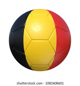 Belgian Belgium soccer ball with national flag. Isolated on white background. 3D Rendering, Illustration.